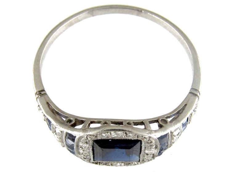 Art Deco Square Cut Sapphire & Diamond Ring