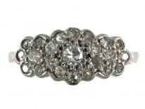 Diamond Triple Cluster 18ct Gold Edwardian Ring