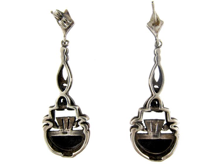 Art Deco Silver Onyx & Marcasite Drop Earrings