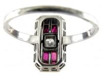 Ruby & Diamond Rectangular Art Deco Ring