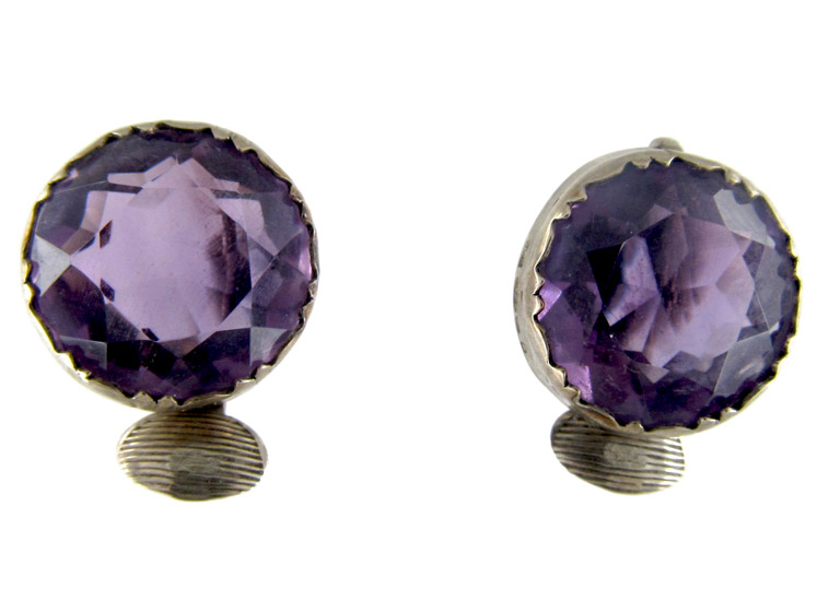 Amethyst & Silver Round Clip-On Earrings