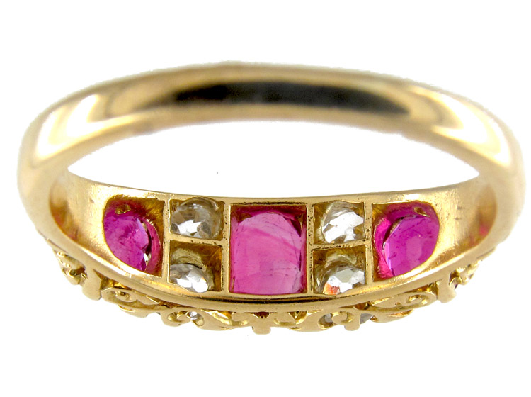 Three Stone Ruby & Diamond Victorian Ring
