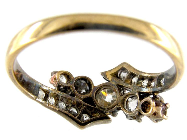 Gold & Platinum Diamond Crossover Ring