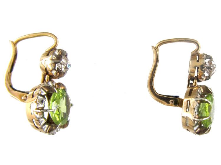 Edwardian Peridot & Diamond Earrings