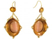 18ct Gold Cameo Drop Earrings