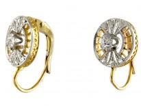 Round Diamond Set Art Deco Earrings