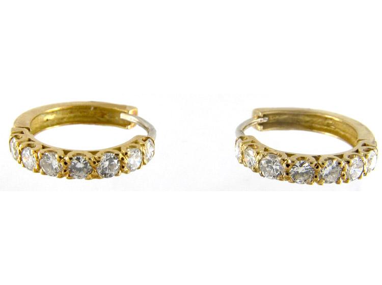 Diamond 18ct Gold Hoop Earrings