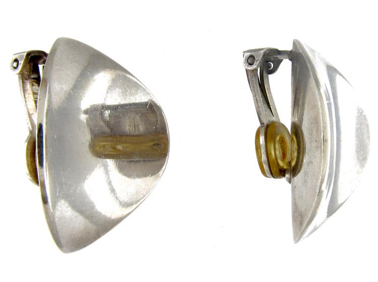 Georg Jensen Large Silver Clip-On Earrings