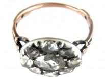 Georgian Rose Diamond Oval Cluster Ring