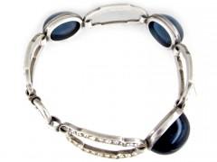 Silver Blue & White Paste Art Deco Bracelet