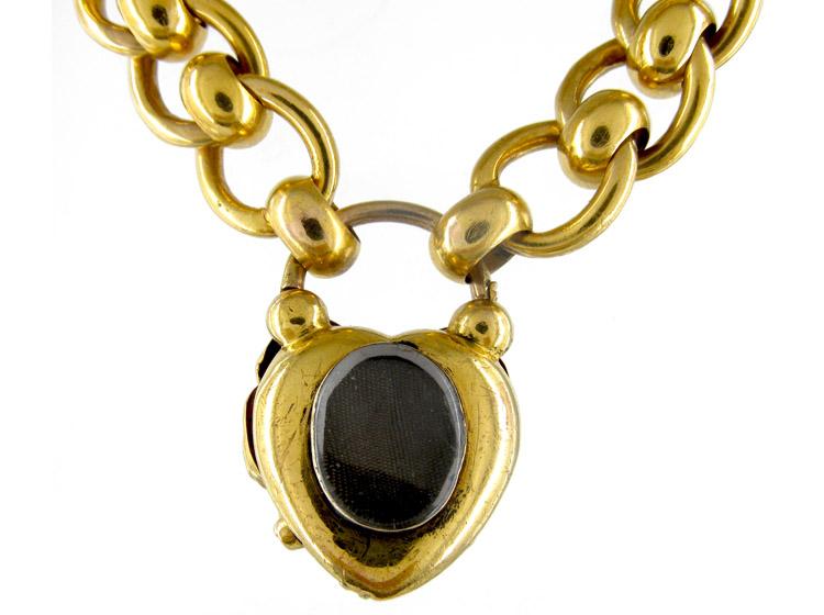 Large Gold Garnet Padlock Victorian Bracelet