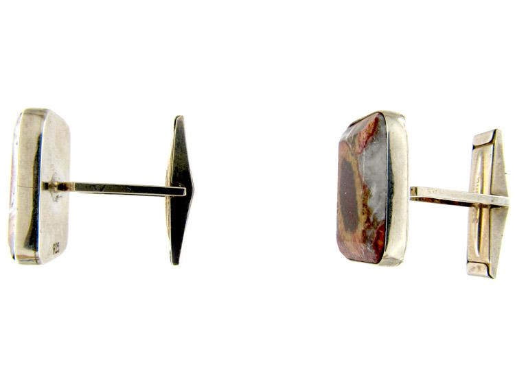 Silver & Agate Cufflinks
