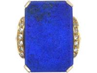 14ct Gold Lapis & Diamond Tablet Ring