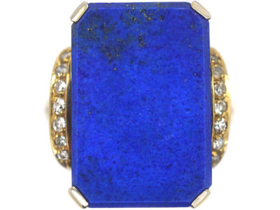 14ct Gold Lapis & Diamond Tablet Ring