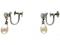 Paste & Faux Pearl Drop Earrings