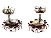 Ruby Pearl & Diamond Cluster Earrings