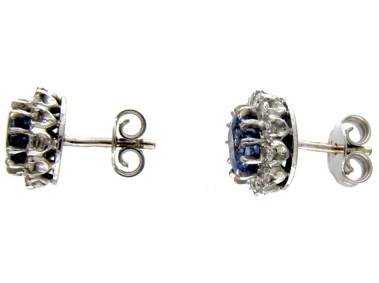 Ceylon Sapphire & Diamond Cluster Earrings