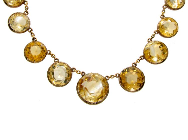 Victorian Citrine Drops Gold Necklace