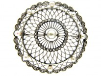 Platinum Diamond & Natural Pearls Edwardian Round Brooch