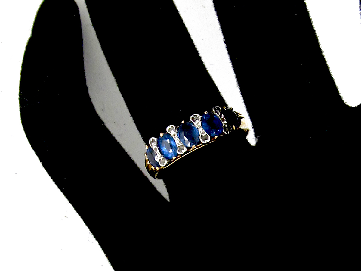 Sapphire & Rose Diamond Five Stone Ring