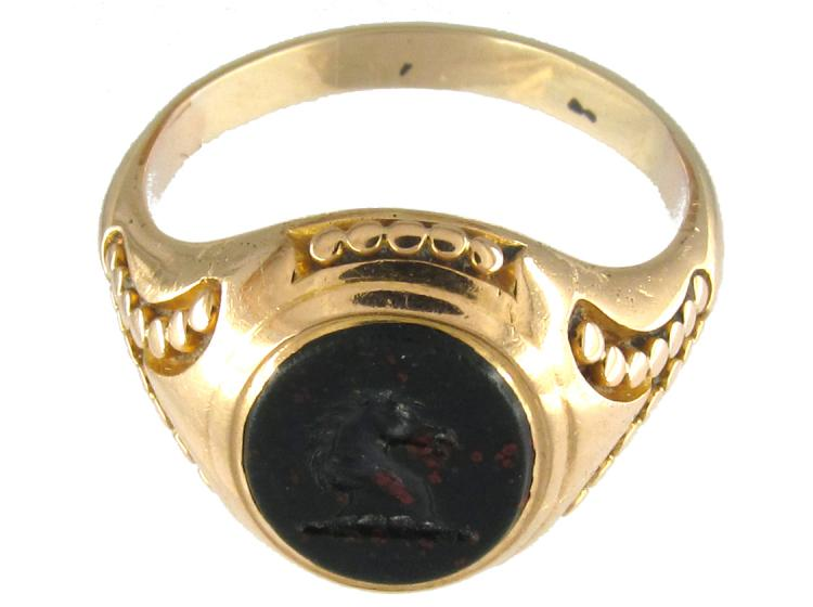 Victorian 18ct Gold & Bloodstone Horse Head Signet Ring