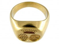French 18ct Gold Double Crested Signet Ring