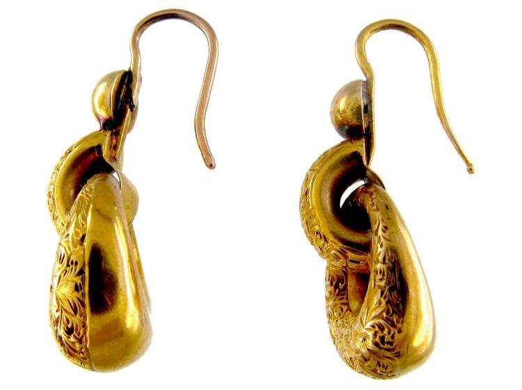 Victorian Gold Hoop Drop Earrings