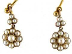 Natural Split Pearl Victorian Flower Drop Earrings