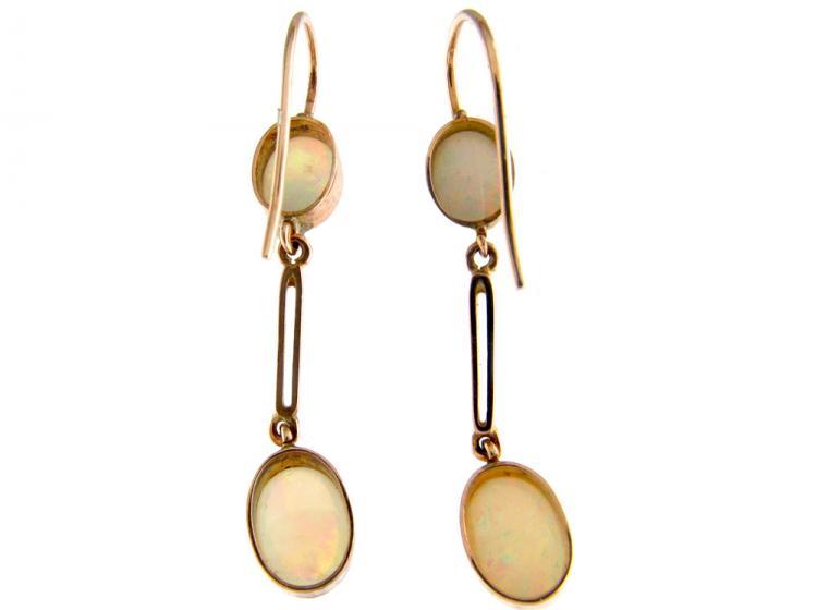 Edwardian Opal 9ct Gold Drop Earrings