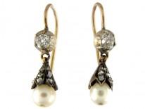 Natural Pearl & Diamond Earrings Set in Yellow Gold