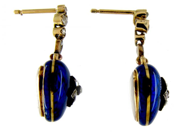 Victorian Blue Enamel Diamond Heart Drop Earrings