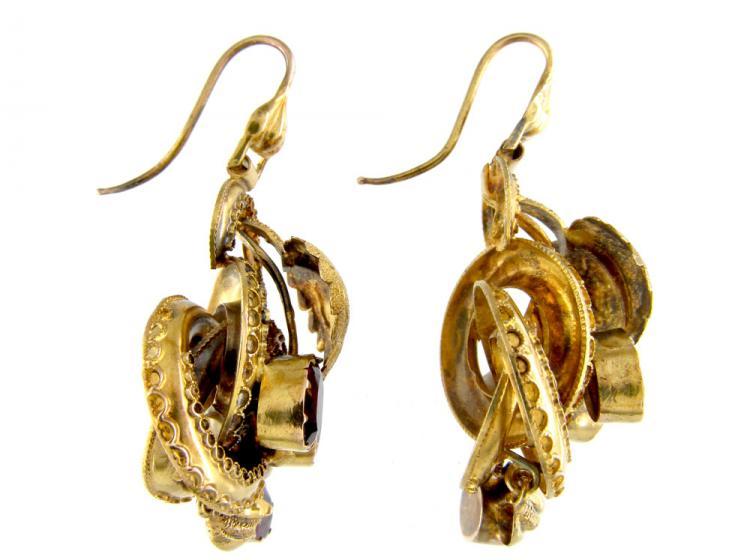 Victorian Garnet 15ct Leaf Drop Gold Earrings