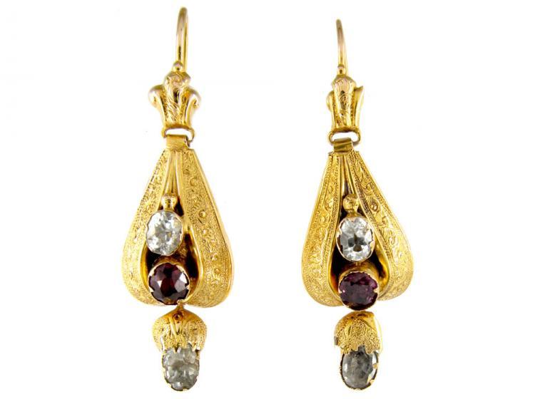 Victorian Garnet & Crystal 15ct Gold Teardrop Earrings