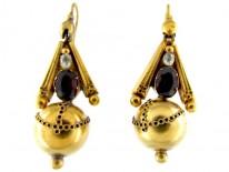 Victorian Garnet & Crystal 15ct Gold Drop Earrings