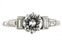 Diamond Solitaire Ring with Diamond Baguette Shoulders