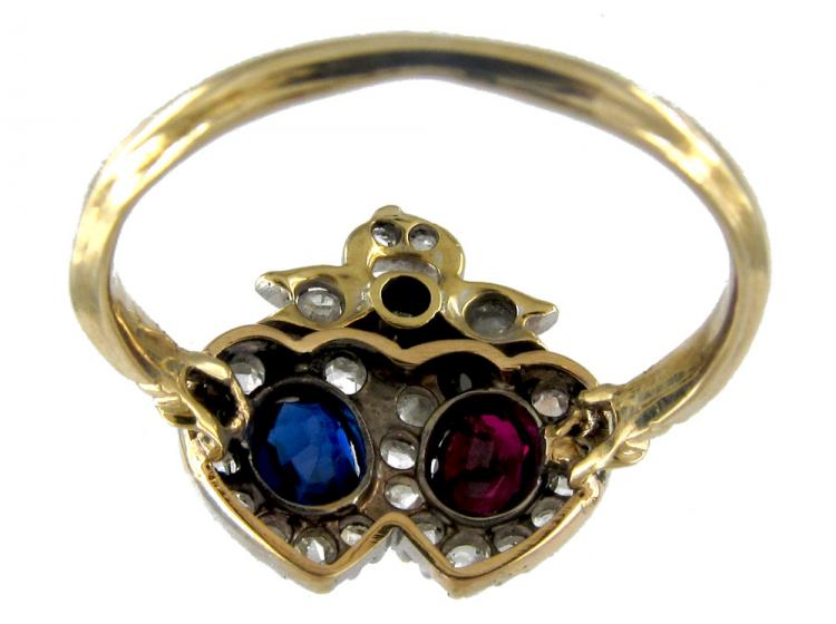 Sapphire, Ruby & Diamond Victorian Double Heart Ring