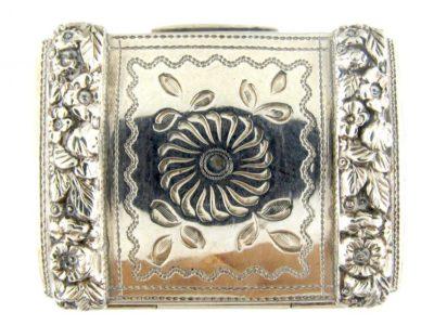 Georgian Silver Engraved & Repousse Vinaigrette