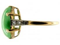 Art Deco Single Stone Jade Ring with Diamond Detail
