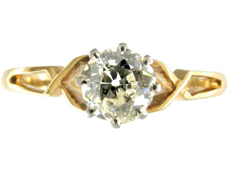 Single Stone Diamond Yellow Gold Solitaire Ring of Geometric Design