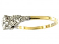 Art Deco Single Stone Diamond Ring Set in 18ct Yellow Gold
