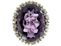 Large Amethyst & Diamond Oval Cluster Ring