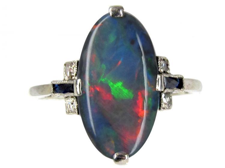 Art Deco Black Opal, Diamond & Sapphire Ring