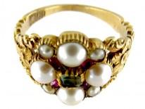 15ct Gold Regency Emerald, Natural Split Pearl & Ruby Cluster Ring