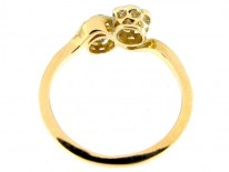 Diamond Double Cluster Crossover Flowerhead Ring