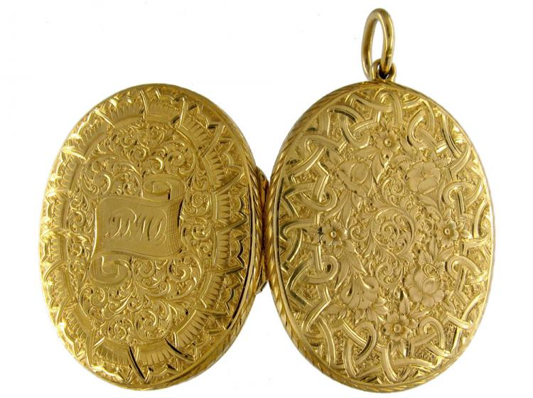 18ct Gold Victorian Oval Engraved Locket