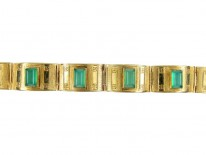 Green Chrysoprase 14ct Gold Art Deco Bracelet