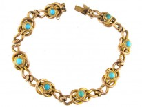 9ct Gold Victorian Bracelet Set with Turquoise