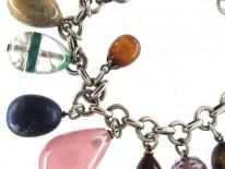 Silver & Semi Precious Stone Eggs Bracelet