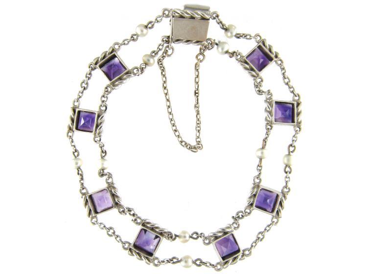 White Gold Amethyst & Natural Pearl Bracelet