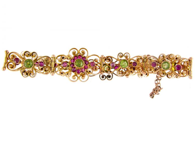 Peridot & Ruby 9ct Gold Edwardian Bracelet